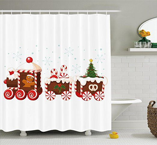 Christmas Shower Curtain Set By Ambesonne Train Made Of