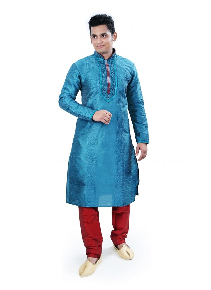 Blue Kurta With Red Bottom For DiwaliWhats app or call : 7048347277 ...