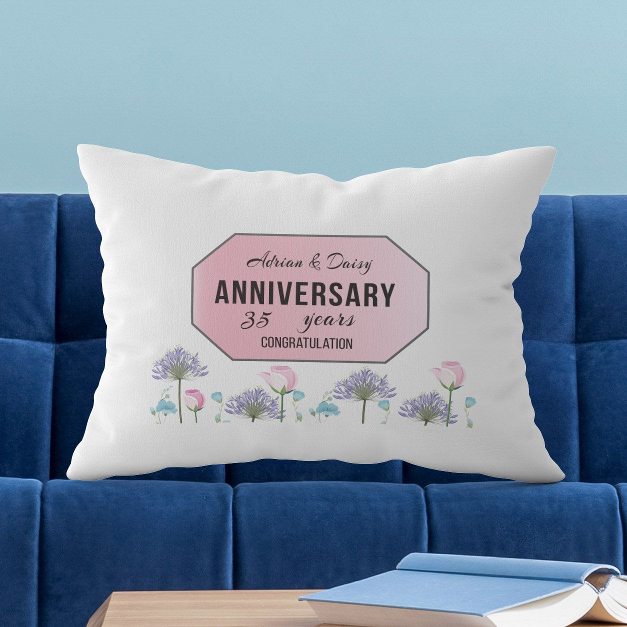 35th anniversary gifts for couples personalized pillow