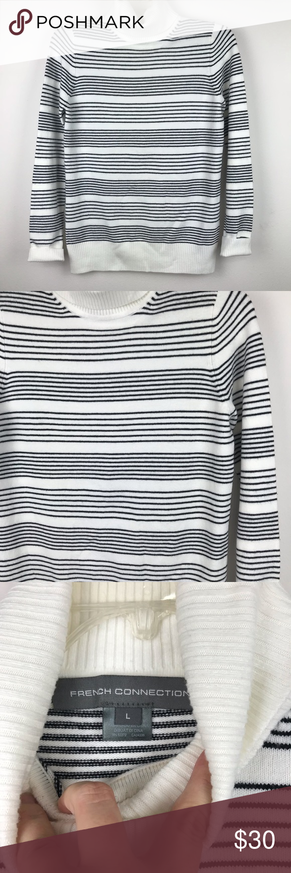 f644a176e5d859 French Connection Babysoft Turtleneck Sweater L Black and white Horizontal  striped turtleneck sweater from French connection. Baby soft material.