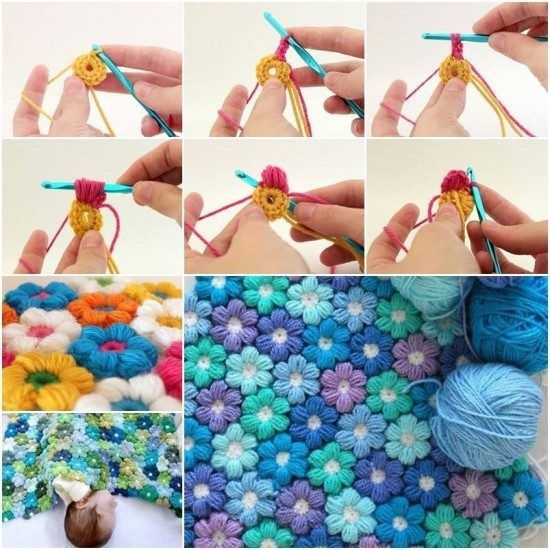 Crochet Puff Flower Blanket Free Pattern | Häkeln, Stricken und ...