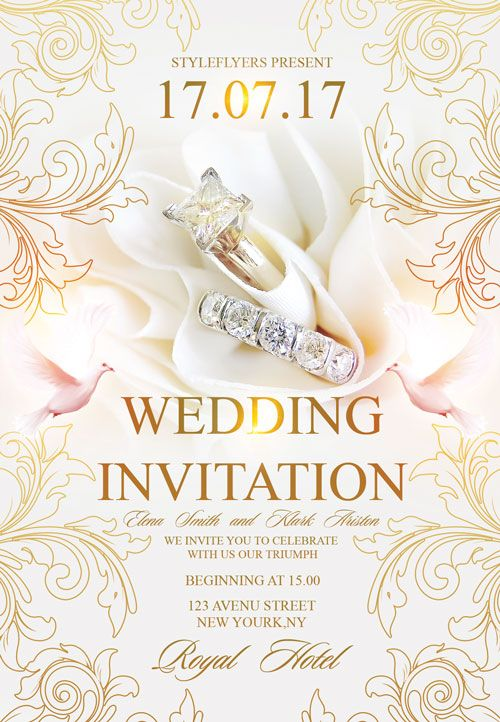 Free Wedding Invitation Flyer Template -   freepsdflyer - Invitation Flyer Template