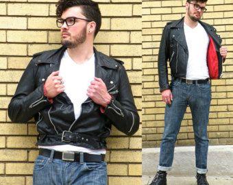 Vintage Men's Black Leather Motorcycle Jacket, Punk Cafe Racer Biker Jacket, Rockabilly Marlon Brando Jacket