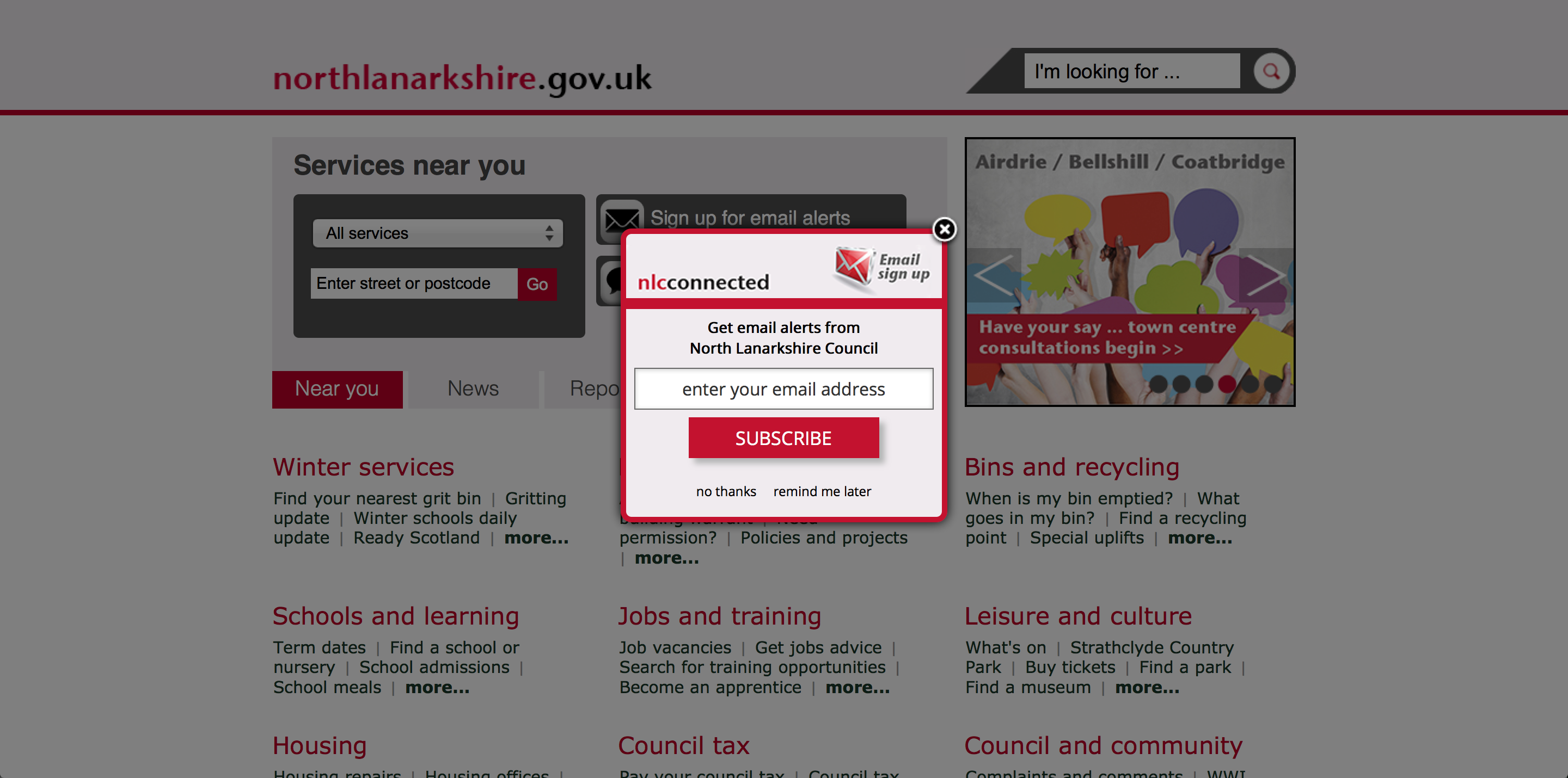 North Lanarkshire Council In The Uk Uses A Website Overlay To Engage Citizens In Their Communications By Capturing The Email Council Bellshill Finding Yourself