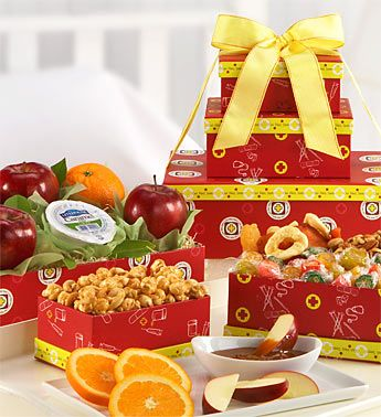 Get Well Wishes Fruit Tower- 3 boxes filled with crunchy mixed nuts, sweet caramel cashew crunch, fresh oranges, crisp apples and other tasty treats $59.99 #food #getwellsoon