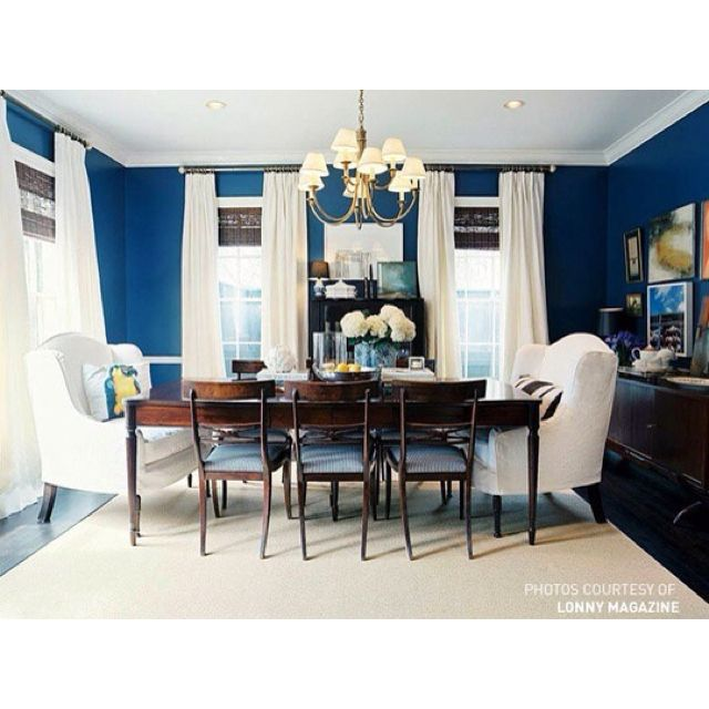 Love The Blue Walls And The Big Comfy Chairs At The Dining Room Custom Blue Dining Room Furniture Inspiration Design