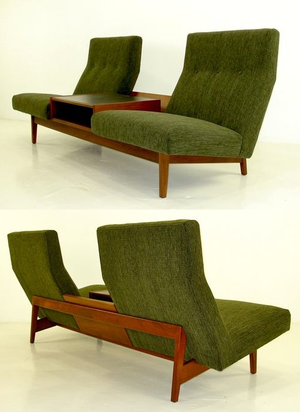 mid century office furniture. Mid Century Retro Vintage Platform Lounge Sofa Couch With Built In Coffee Table By Jens Risom Office Furniture