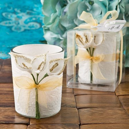 Gold Calla Lily Design Votive Candle Holder Spring Wedding Favors