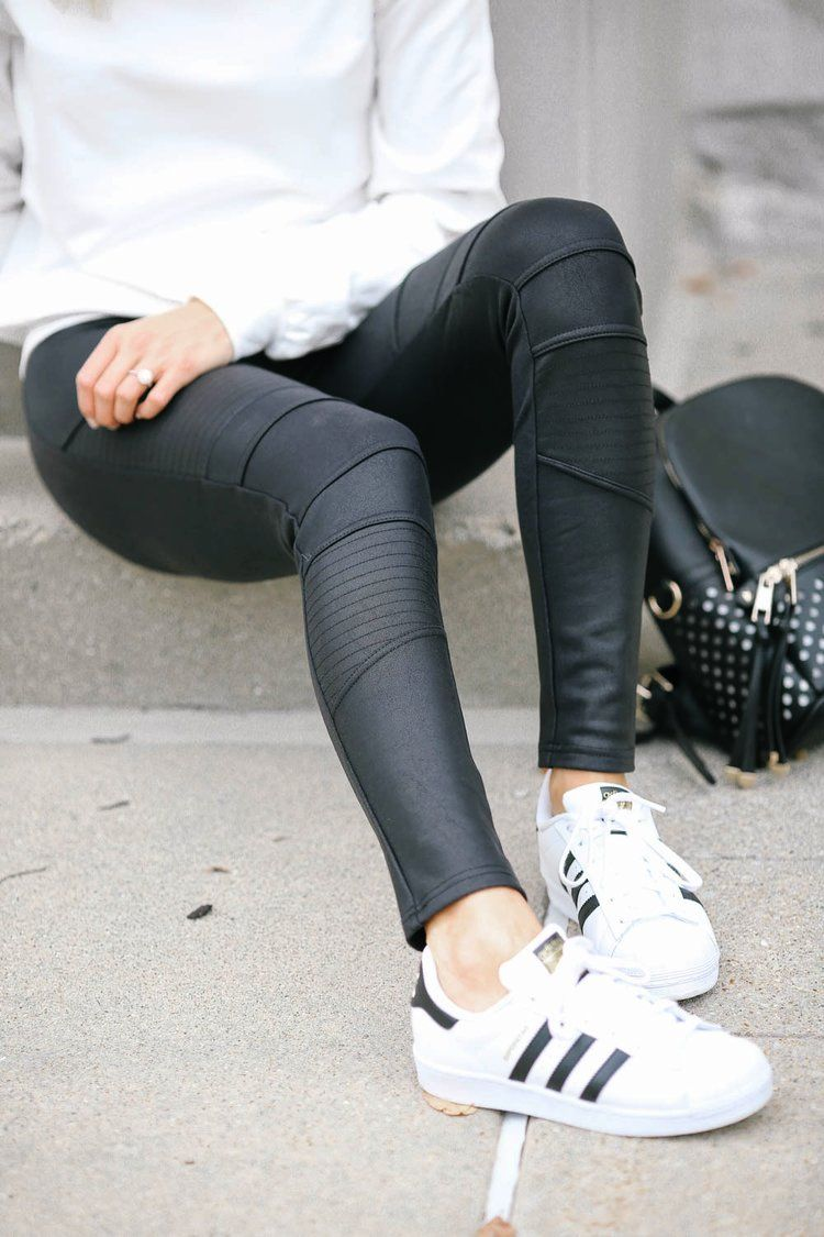 Adidas Superstars, Moto leggings, leather coated leggings