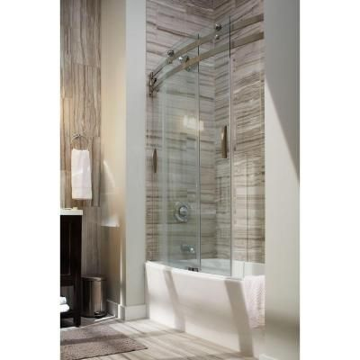delta classic 400 curve 60 in x 62 in frameless sliding tub door in stainless at the home depot mobile - Delta Shower Doors