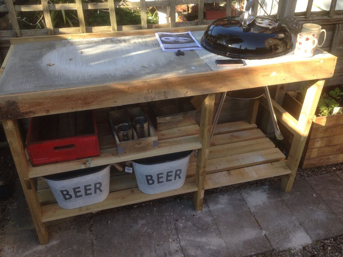 Handmade Bbq Table With Weber Kettle Barbeque Stuff To