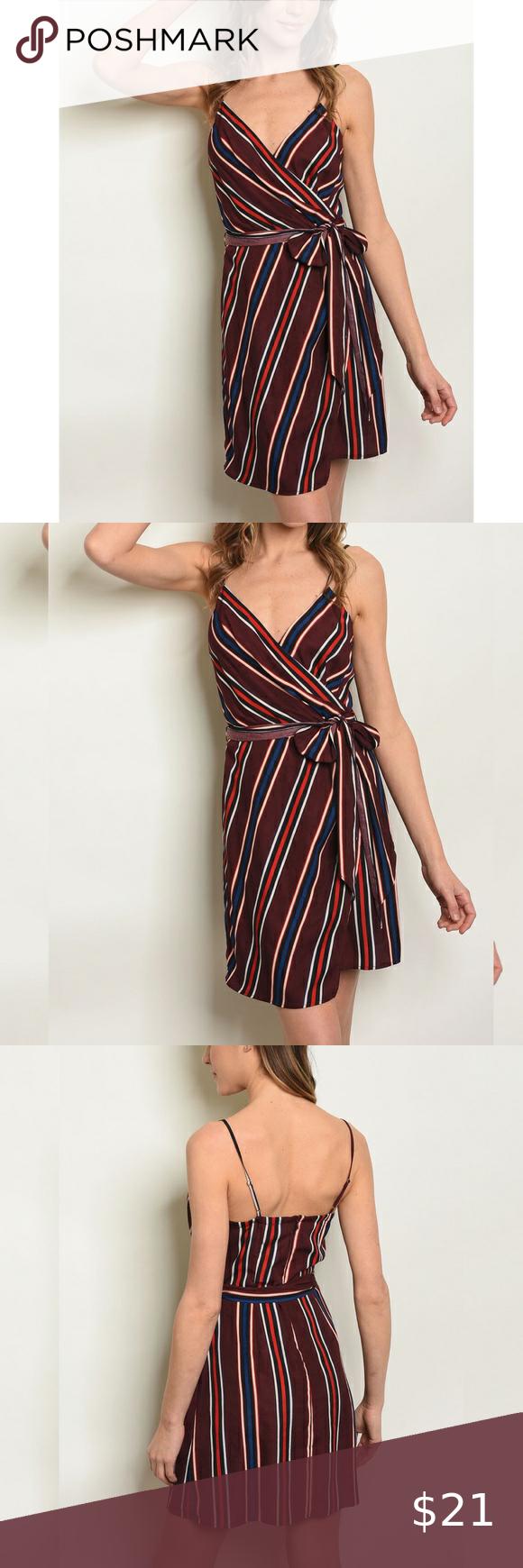 Wine Striped Wrap Dress Clothes Design Wrap Dress Dresses [ 1740 x 580 Pixel ]