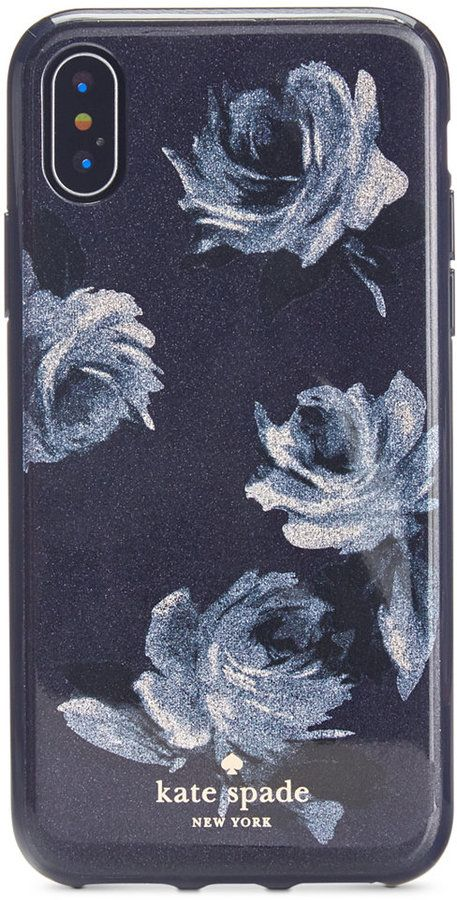 huge selection of ad9df 8f3e7 Kate Spade Night Rose Glitter iPhone X Case | Iphone | Iphone ...