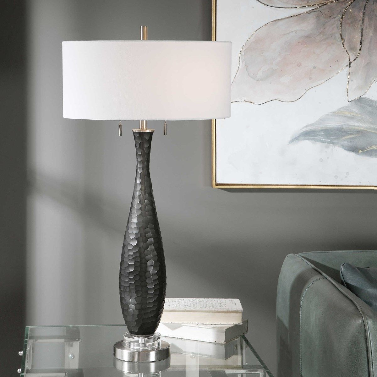 Uttermost Jothan Frosted Black Table Lamp Black table lamps