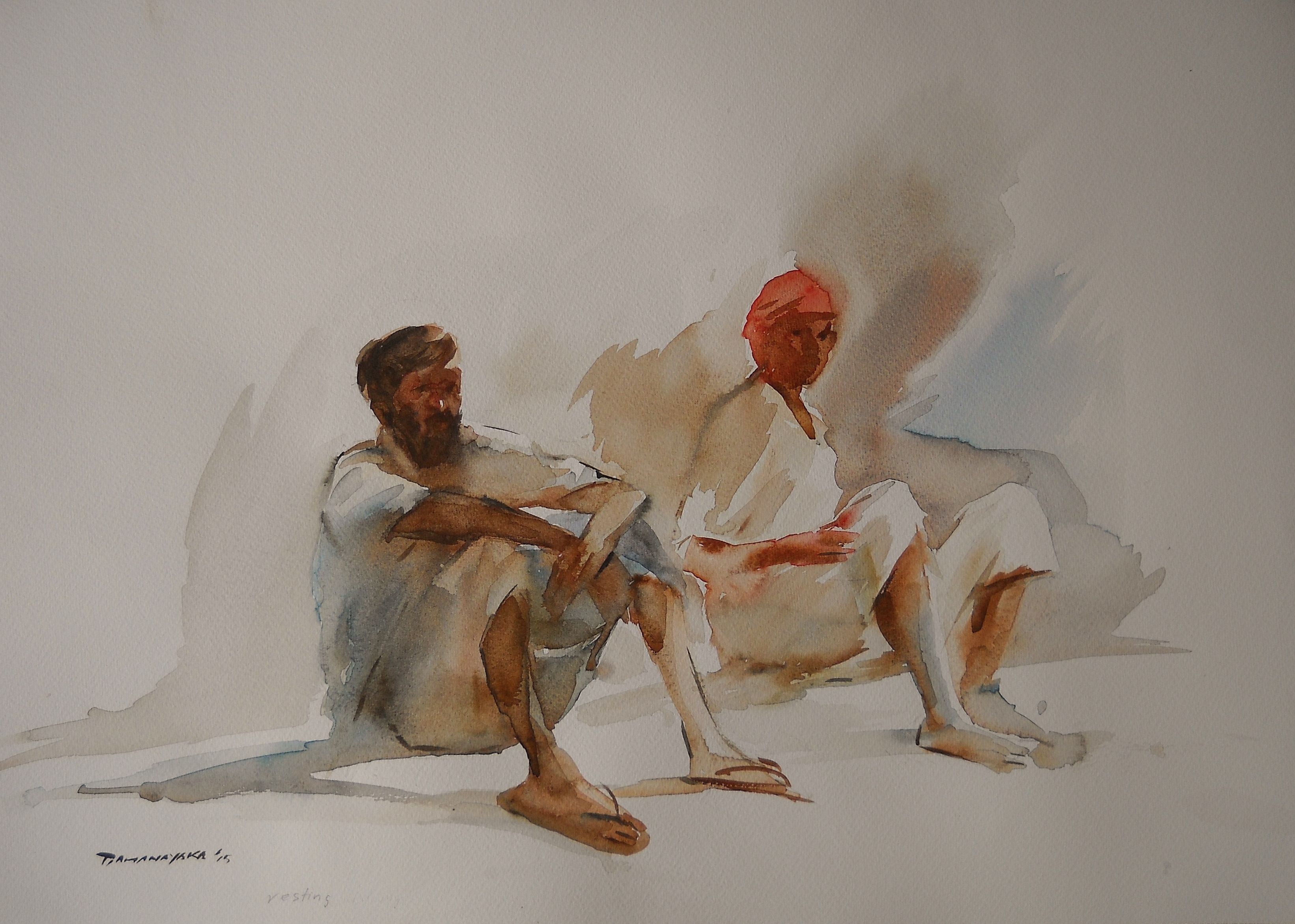 Resting By Anura Dahanayaka Zilpa Gallery Watercolor Paintings