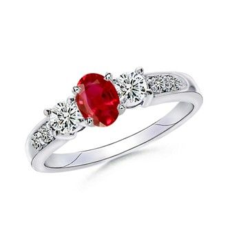 Angara Three Stone Ruby Halo Ring With Diamond Border in Platinum IZxHE2n6