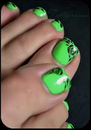 Neon Pedicure Green Toe Nails Green Nail Designs Green Nails