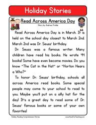 Second Grade Reading Comprehension Worksheet - Holiday Stories ...