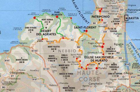 Carnets De Voyage Corse Carte Du Circuit Saint Florent Et Le