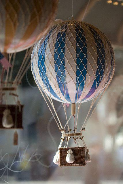 mini hot air balloon cute idea for a baby shower or babies room.