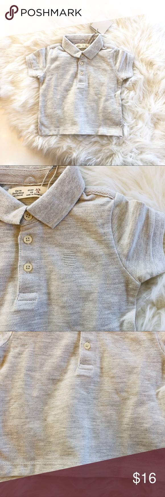 b39170245 NWT Zara Baby Polo Shirt NWT Zara Baby Polo Shirt in light gray. Size 6-9  months NEW WITH TAGS E2-0489 Zara Shirts & Tops