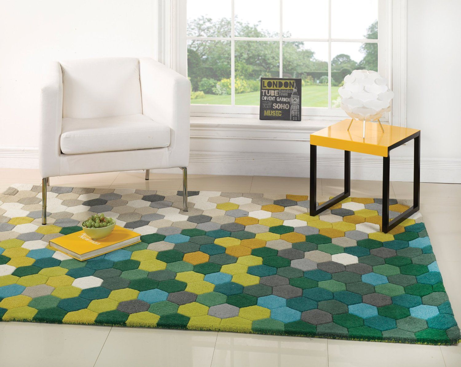Large Thick Modern Contemporary Wool Honeycomb Design Green Yellow Blue Rug  In 120 X 170 Cm