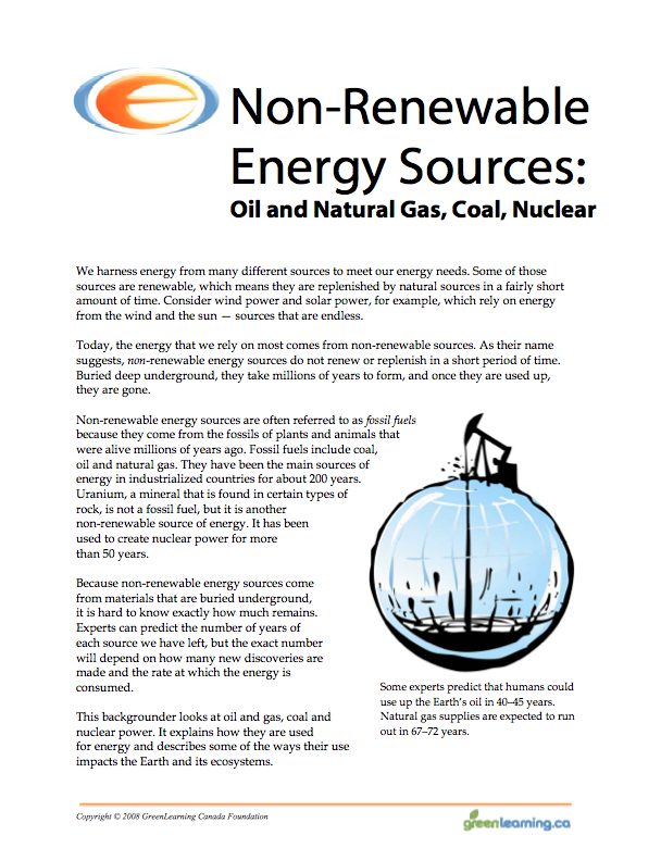 NonRenewable Energy Sources Education backgrounder and printable – Renewable Resources Worksheet