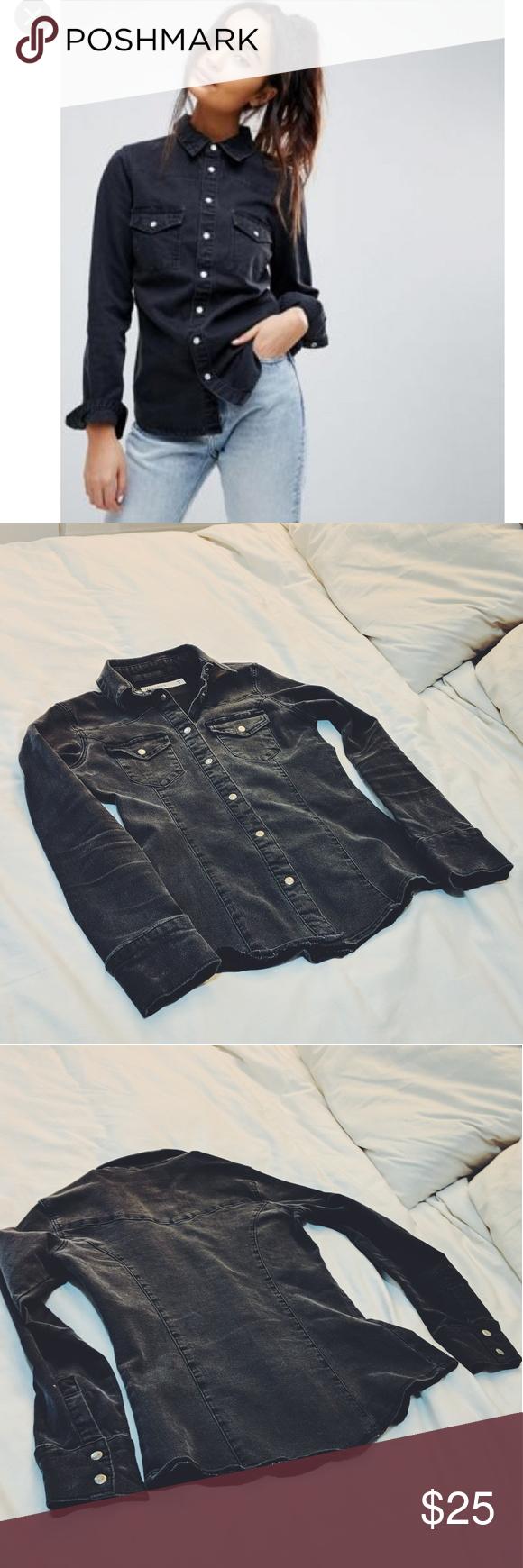 efa612bcf6e ASOS denim fitted western shirt in washed black Asos denim fitted western  shirt in washed black