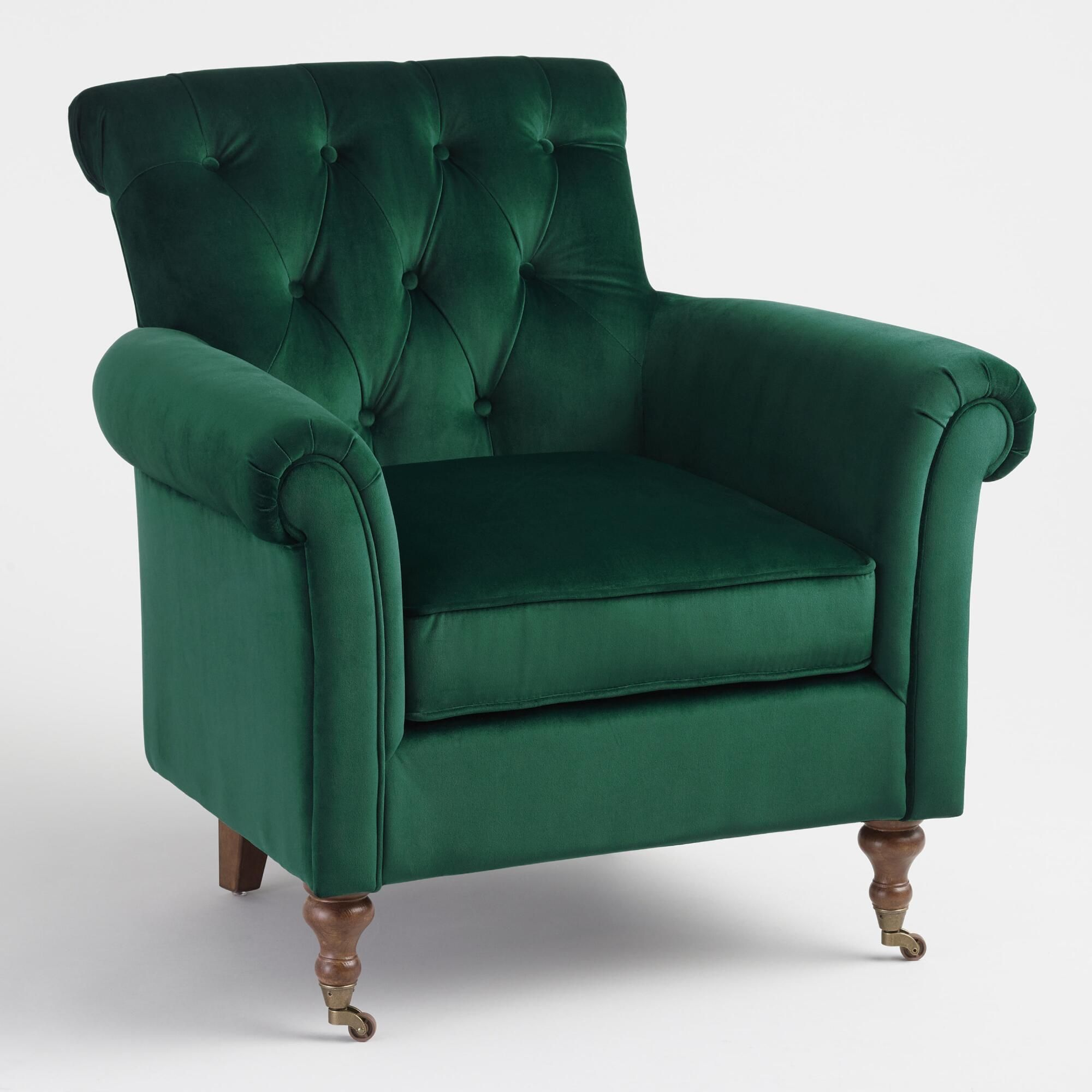 Dark Green Dimitra Roll Arm Chair By World Market