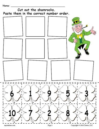FREE Printable St. Patrick's Day Shamrock Number Ordering