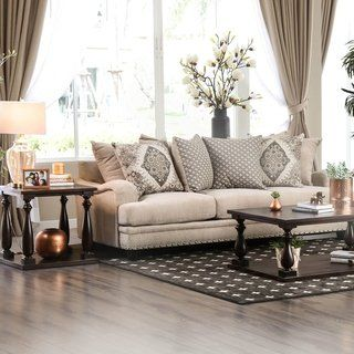 Furniture Of America Vizi Traditional Chenille Upholstered Sofa