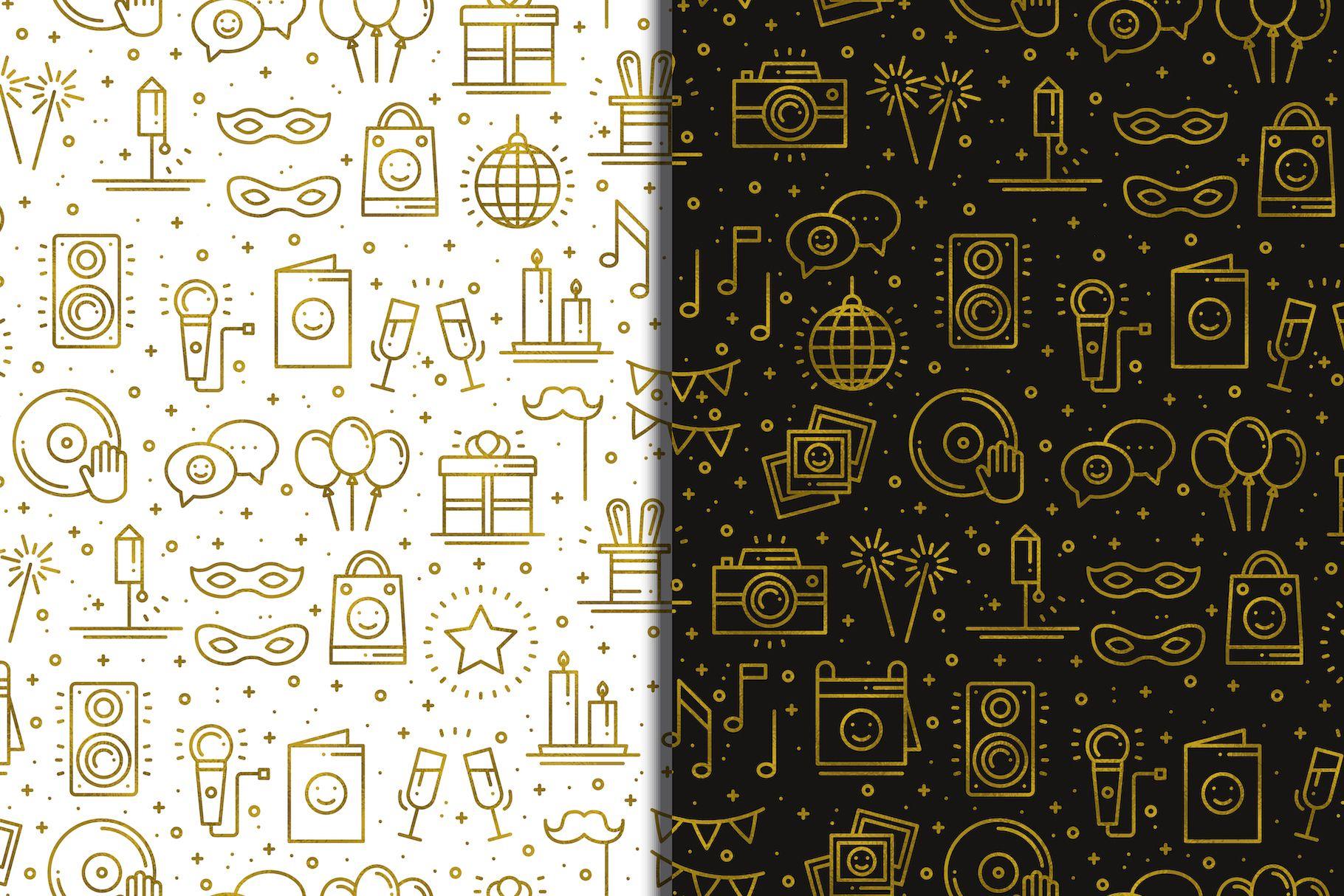 Download Golden Birthday Party Patterns 481071 Patterns Design Bundles Golden Birthday Parties Golden Birthday Flyer Design Templates