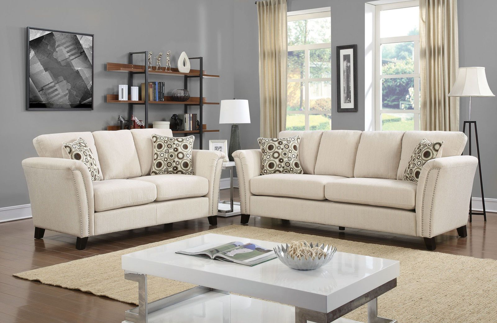 $ 1499.99 | New Ivory Fabric Contemporary Style Living ...