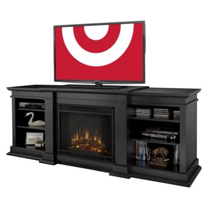 Real Flame Fresno Entertainment Electric Fireplace Black