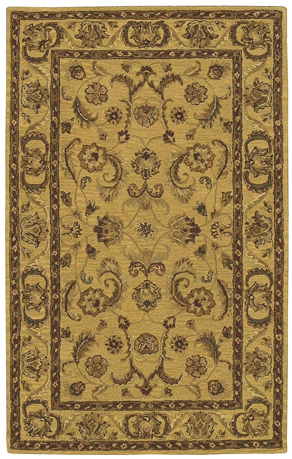 Den Amazon Com Rug Squared Worcester Traditional Area Rug Wor19 5 Feet By 8 Feet Gold Kitchen Dining Area Rugs Rugs Nourison