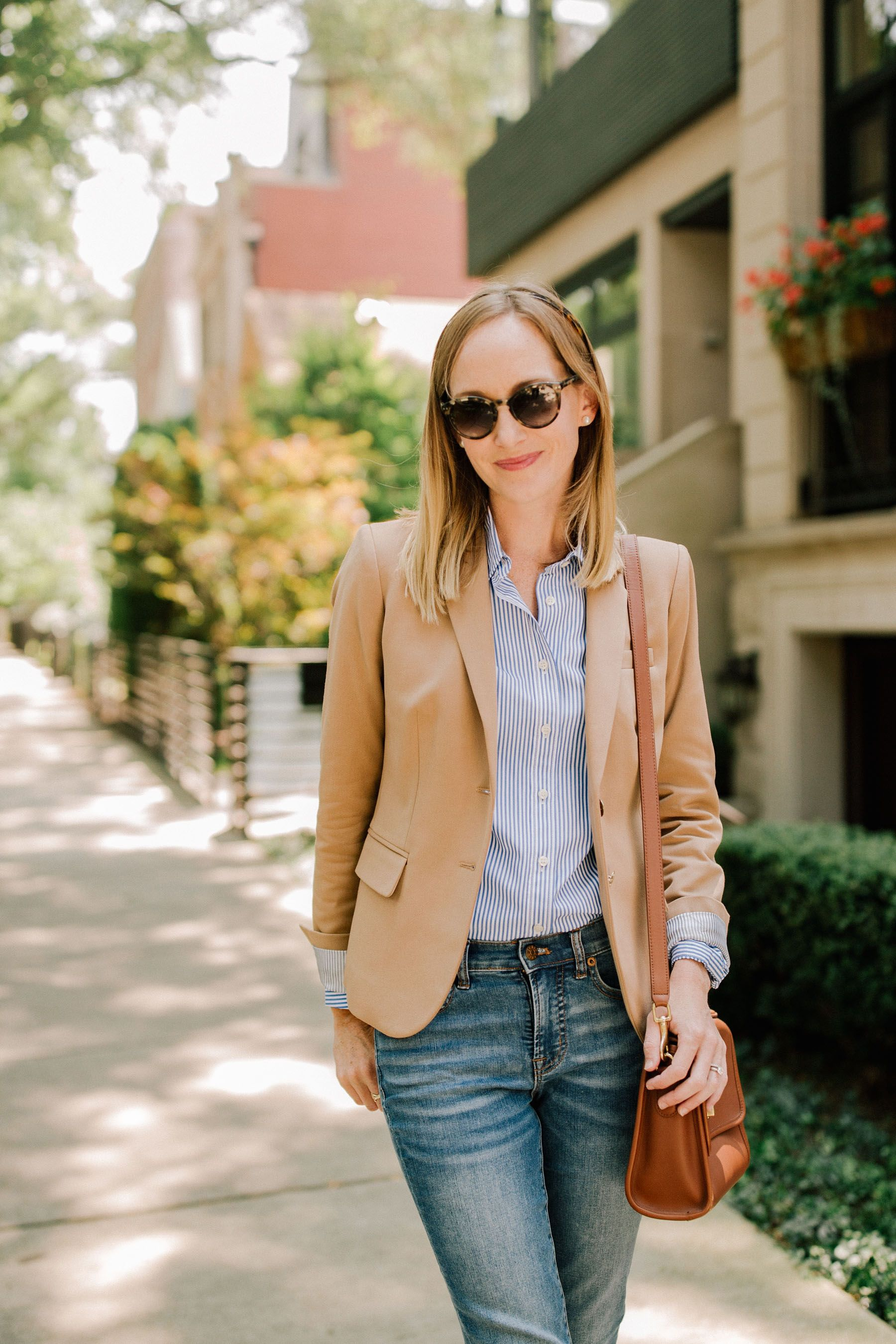 light wash jeans + blue and white striped button up shirt + camel blazer 86ce6ca2b