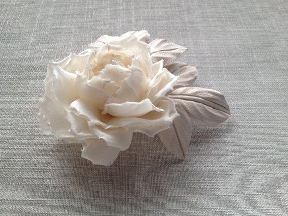 Ivory Bridal hair flower Bridal headpiece by JewelryWithTaste