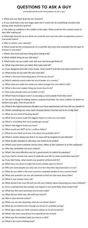 Questions ask Or guy to a
