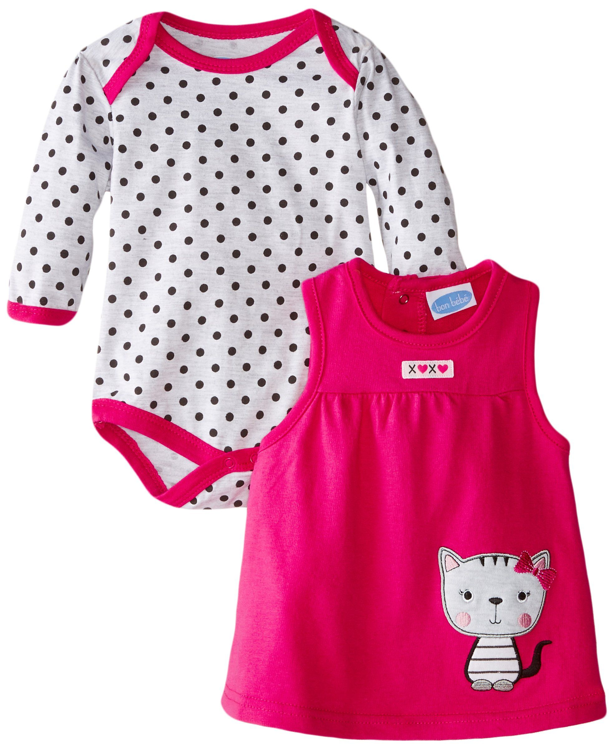 4bb68be86 BON BEBE Baby-Girls Newborn Kitty Cat and Polka Dots Bodysuit and French  Terry Jumper Set, Multi, 6-9 Months