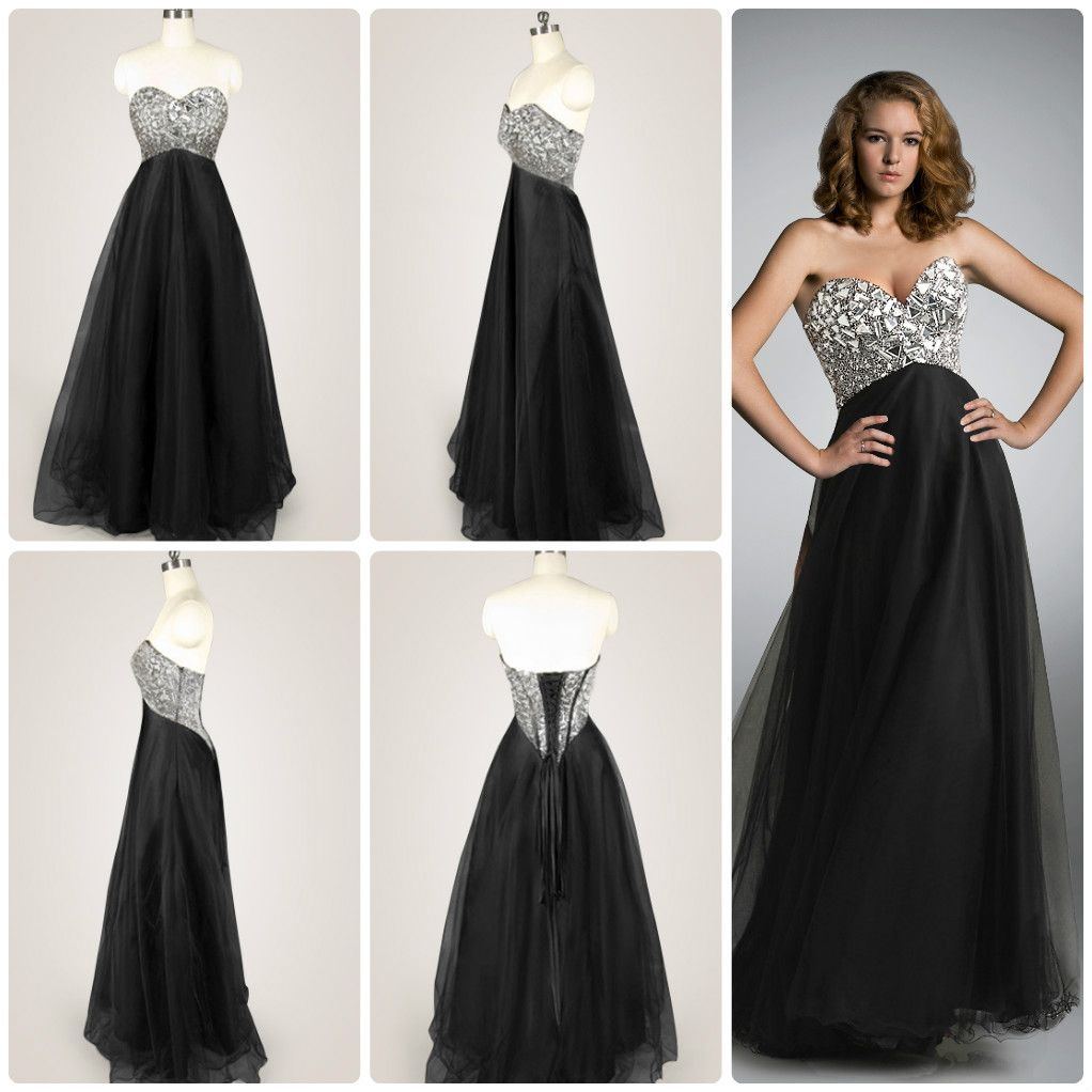 Black sequined sweetheart strapless long prom dress prom dresses