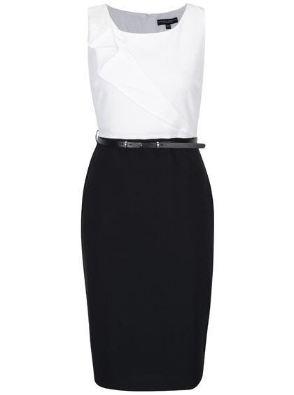 7c50da6f09e Bílo-černé pouzdrové šaty s páskem a volánem Dorothy Perkins