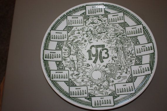 1973 CALENDAR PLATE by OurFunLittleBoutique on Etsy, $8.99