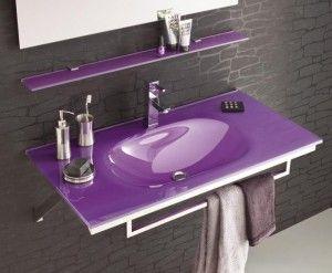 Vasque Salle De Bain Violet Verre Trempe