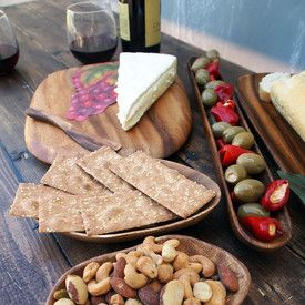 Click to view our GORGEOUS Wine and Cheese Party 7 Piece Presentation Set - on #SALE for only $79.95: #acaciaware chopping board, spreader, bowls for nuts, olive tray, baguette tray. Literally everything you need to serve an extravagant cheese plate.  On sale now:  http://www.pacificmerchants.com/wine-and-cheese-party-7-piece-presentation-set.html #wine #cheese #wineandcheeseparty #food #acaciawood #tablepresentation #foodphotography #pacificmerchants