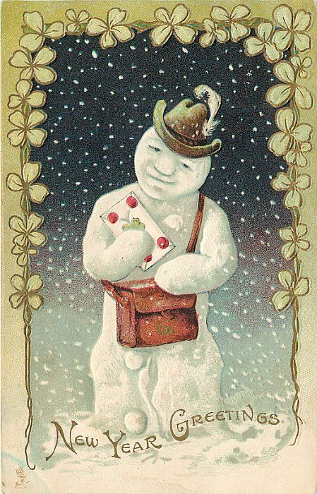 new year greetings snowman with feather in hatmail pouch lettersnowing fancy shamrock border