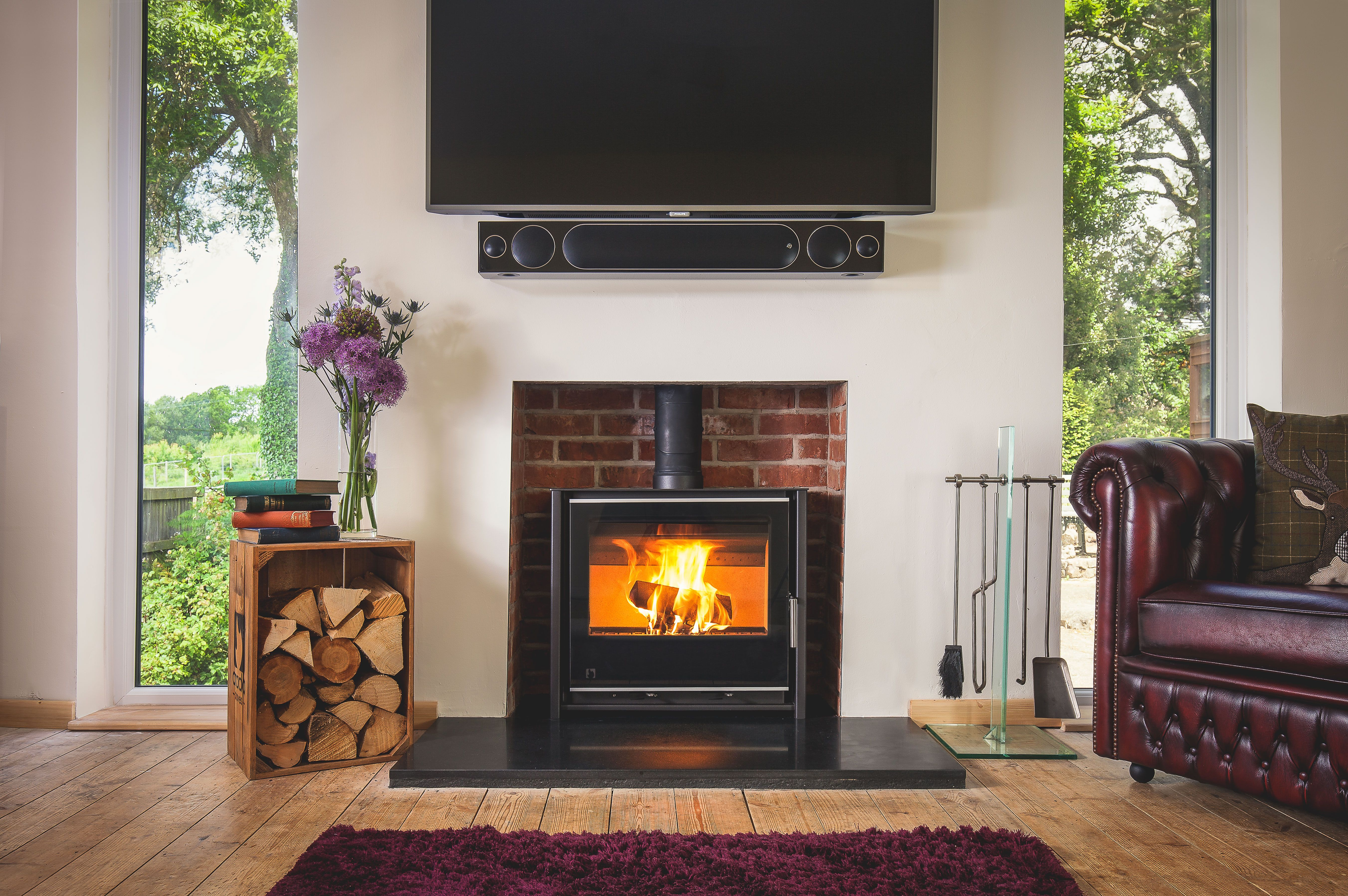 This sleek 4.9kW wood burning stove suitable for