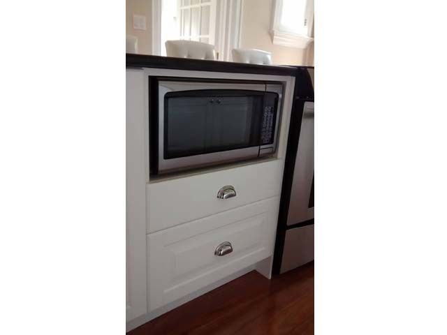 Microwave Custom Integrated In Ikea Base Cabinets With