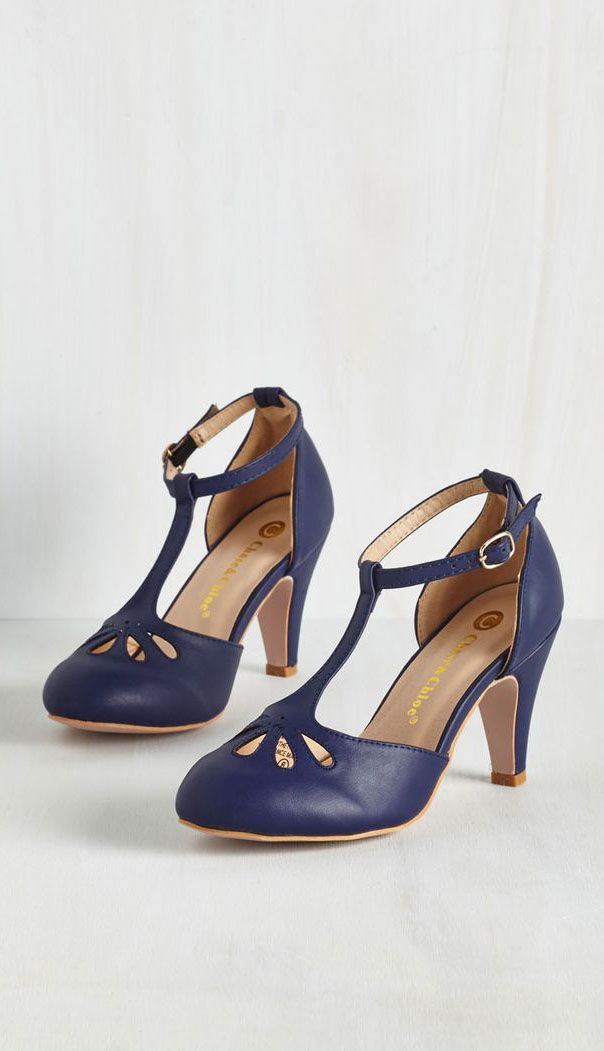 Aisle Come Running Heel in Navy. Adorable