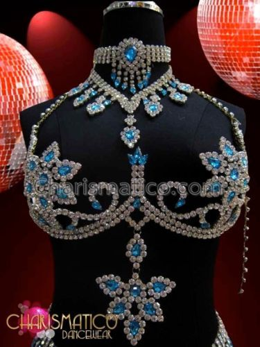 Blue corset in glass rhinestones for Burlesque shows.