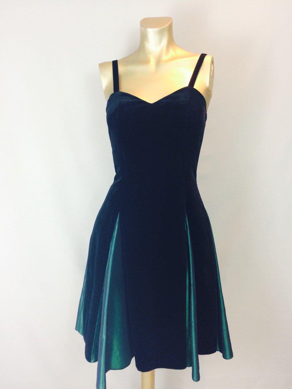 Us black velvet prom dress with emerald panels beautiful